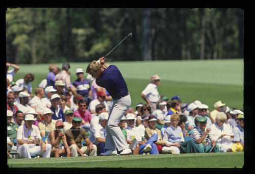 Howard Clark at the top of his backswing during the 1987 Masters