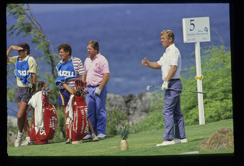 Craig Stadler and Howard Clark on the 5th tee during the 1986 Isuzu Kapalua International