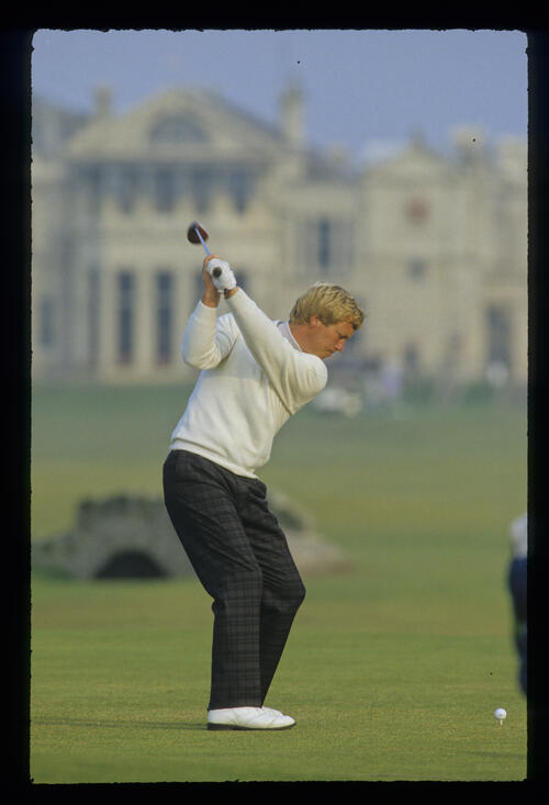 Howard Clark teeing off on the 18th during the 1987 Dunhill Cup