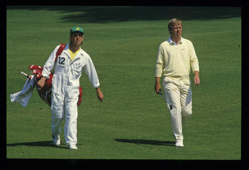 Howard Clark and his caddie on the fairway during the 1987 Masters