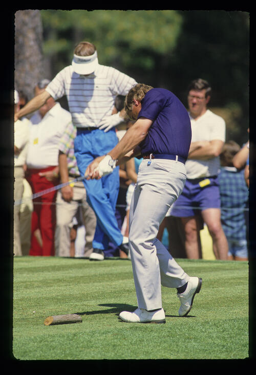 Howard Clark on the tee during the 1987 Masters