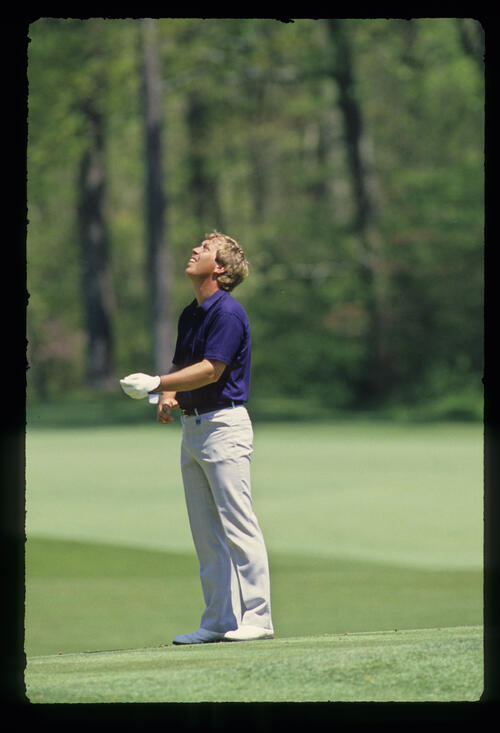 Howard Clark looking to the sky during the 1987 Masters