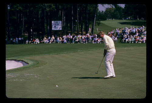 Howard Clark sinking a putt during the 1987 Masters
