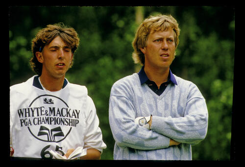 Howard Clark and his caddie during the 1986 Whyte & MacKay PGA