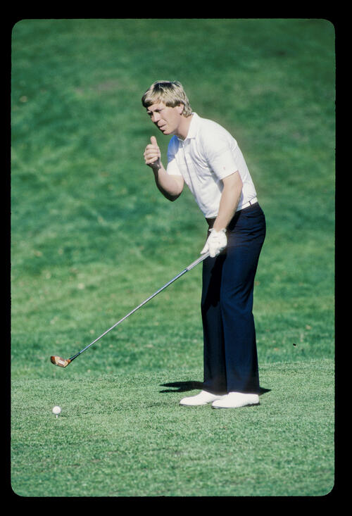 Howard Clark preparing to drive during the 1986 Whyte & MacKay PGA