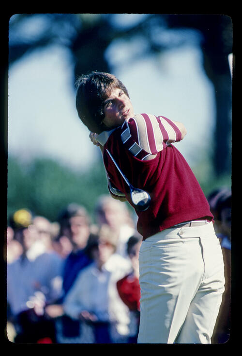 Fred Couples following through on the tee during the 1982 Phoenix Open