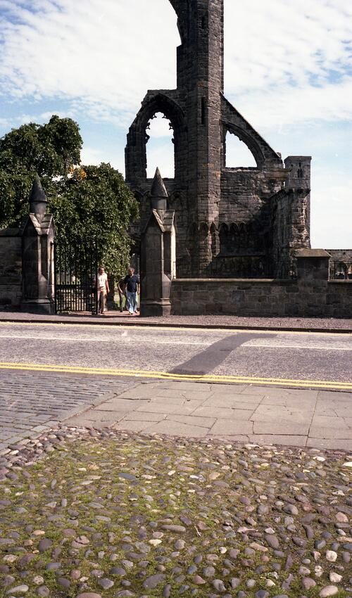 West Front of St Andrews Cathedral from Dean's Court entrance,.