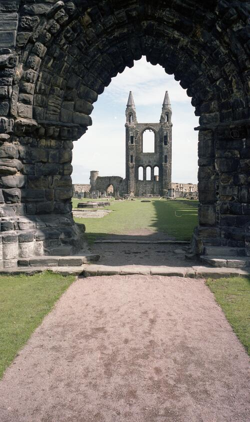 East front of St Andrews Cathedral seen through the West Doorway.