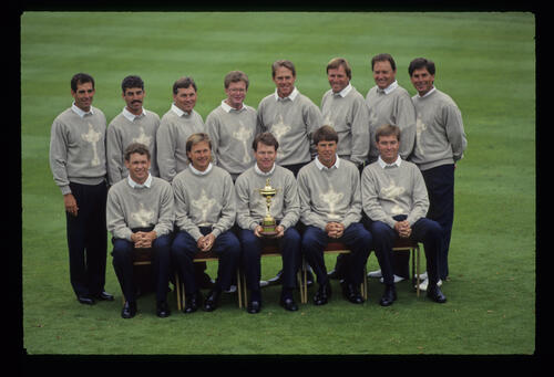 The USA Team for the 1993 Ryder Cup in themed sweaters