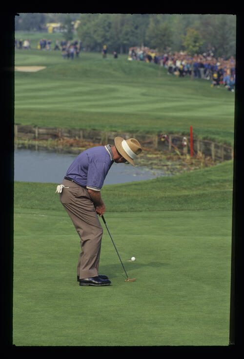 The ball teetering on the edge of the hole for Tom Kite during the 1993 Ryder Cup