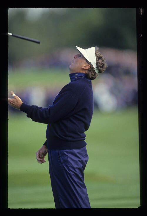 His putter airborne, Lanny Wadkins is flabbergasted at the outcome of a putt at the 1993 Ryder Cup