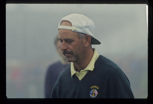 Mark James wearing his cap street style during the 1993 Ryder Cup