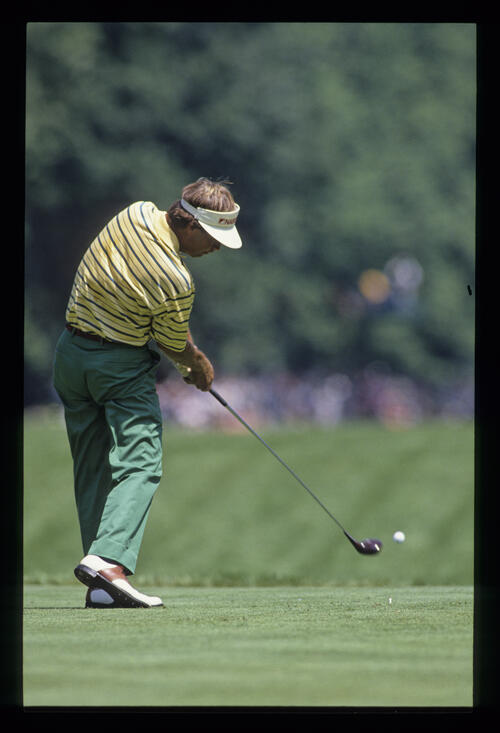 Ben Crenshaw driving during the 1990 US Open