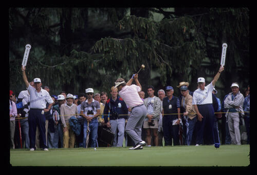 Ben Crenshaw driving during the 1989 US Open