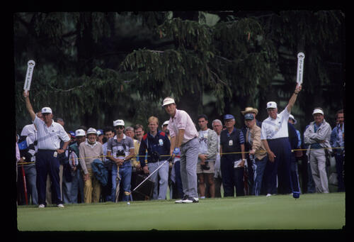 Ben Crenshaw preparing to drive during the 1989 US Open