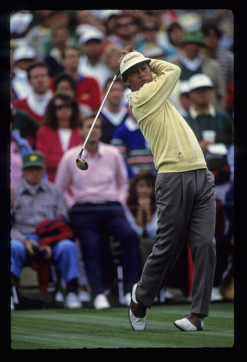 Ben Crenshaw driving during the 1989 Masters