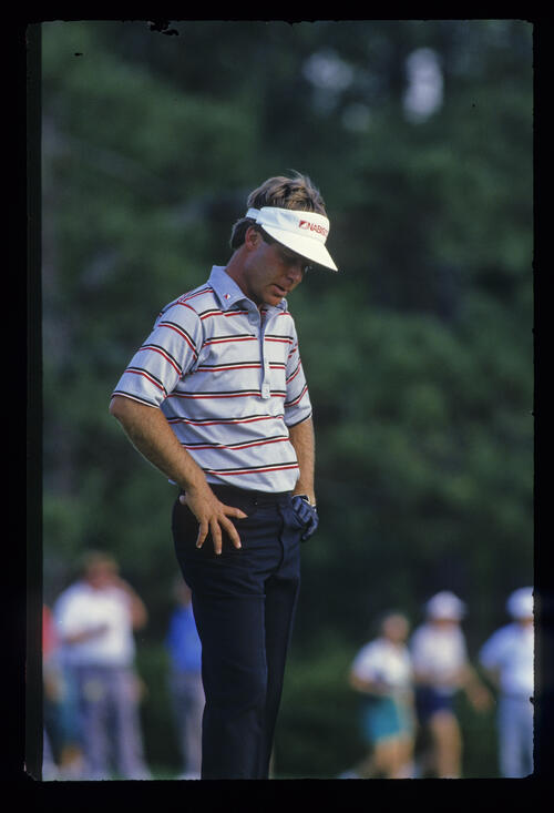 Ben Crenshaw looking unhappy during the 1987 Masters