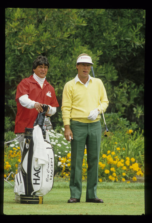 Ben Crenshaw considering an upcoming drive during the 1987 US Open