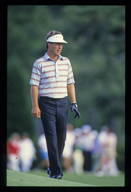Ben Crenshaw looking concerned during the 1987 Masters