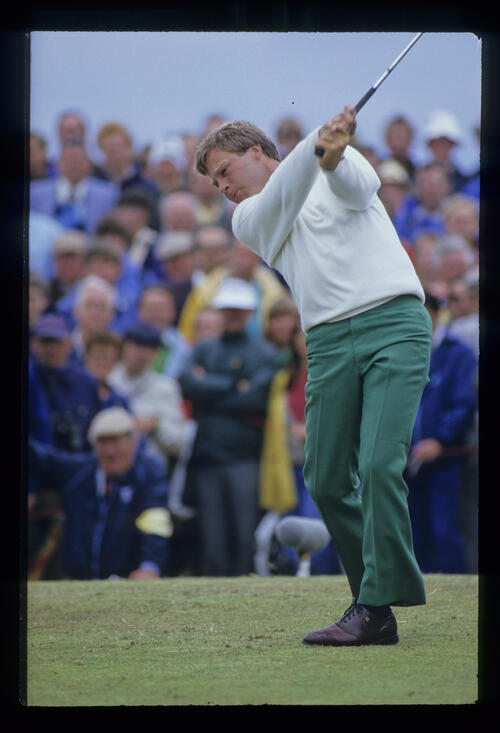 Ben Crenshaw hitting iron from the tee during the 1986 Open Championship