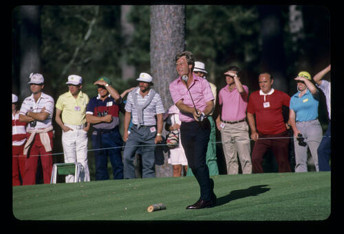 Ben Crenshaw driving during the 1986 Masters