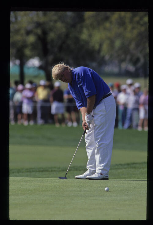 John Daly putting during the 1992 Nestle Invitational