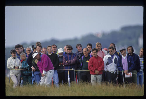 Rodger Davis hitting from the rough during the 1992 Open Championship