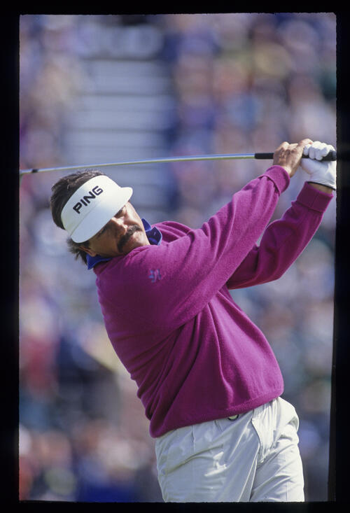 Rodger Davis following through during the 1992 Open Championship