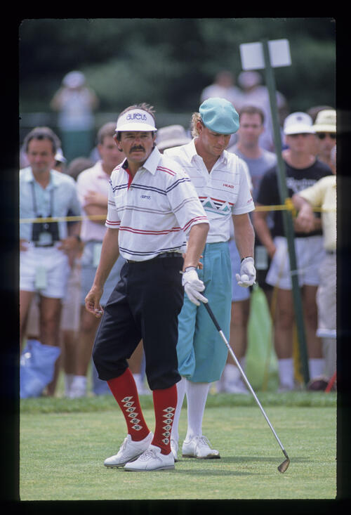 A meeting of plus fours as Rodger Davis and Payne Stewart are paired together during the 1988 US Open