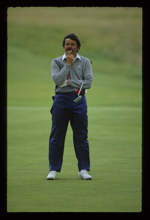 Rodger Davis contemplating a putt during the 1987 Open Championship