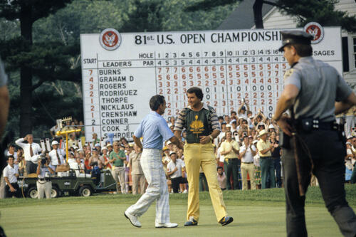 David Graham shaking hands with his caddie following victory at the 1981 US Open