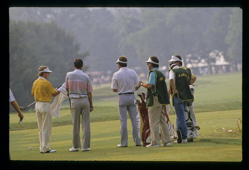 Jay Haas, Tom Kite and Hubert Green on the tee together during the 1988 US Open