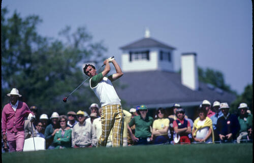 Hubert Green and Calvin Peete on the tee during the 1982 Masters