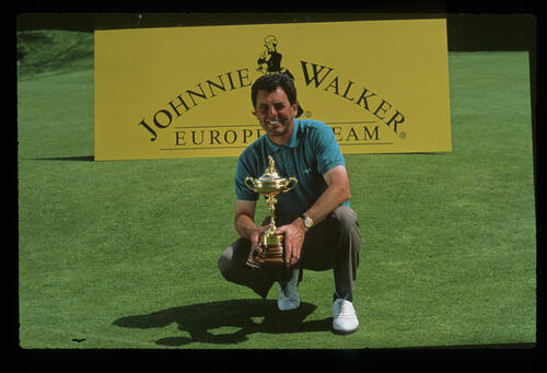 European Captain Bernard Gallacher with the trophy during the 1991 Ryder Cup