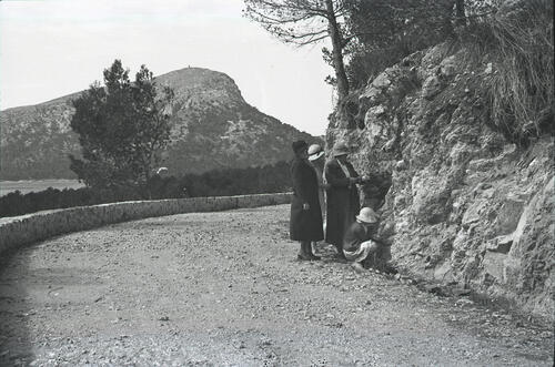 The Russell family standing on a country road, Majorca.