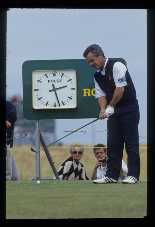 Tony Jacklin preparing to drive during the 1993 Open Championship