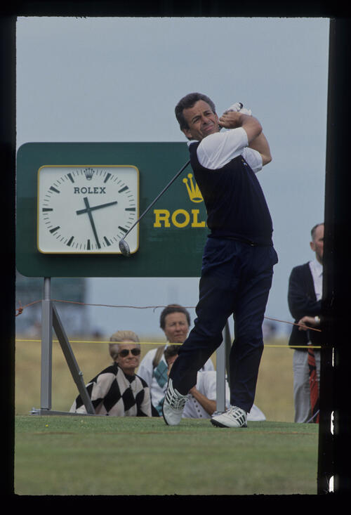 Tony Jacklin following through on the tee during the 1993 Open Championship