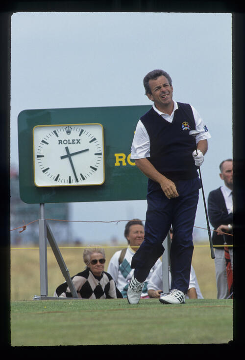 Tony Jacklin watching closely from the tee during the 1993 Open Championship