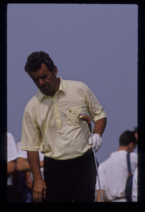 Tony Jacklin looking concerned on the tee during the 1989 Open Championship