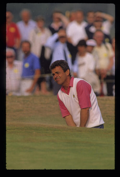 Tony Jacklin splashing from a bunker during the 1989 Open Championship