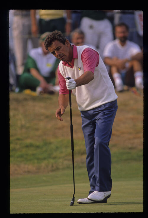 Tony Jacklin stepping after a putt during the 1989 Open Championship