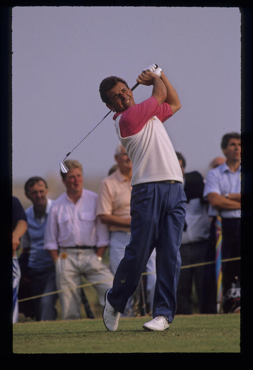 Tony Jacklin following through on the tee during the 1989 Open Championship
