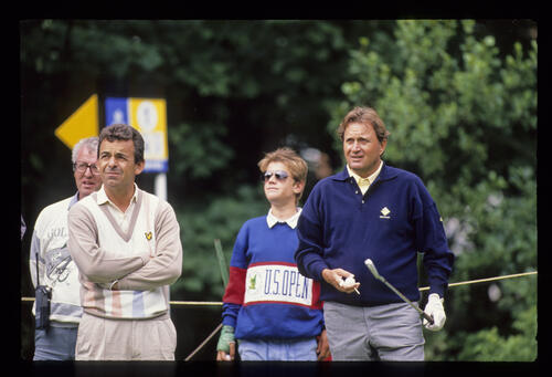 Tony Jacklin and Ray Floyd on the tee during the 1988 Open Championship