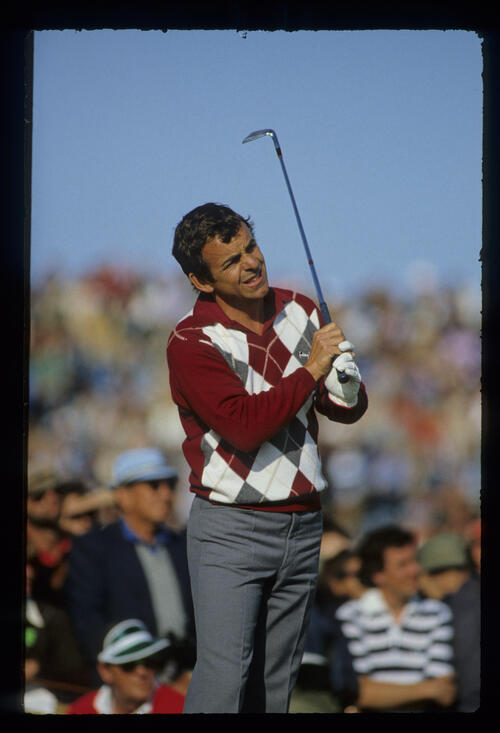Tony Jacklin watching his shot closely during the 1981 Open Championship