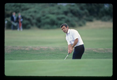 Tony Jacklin with a long putt during the 1984 Open Championship