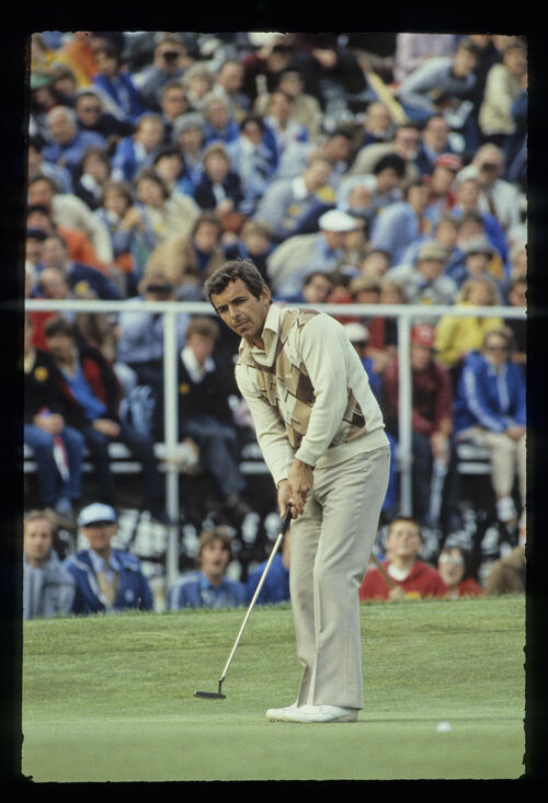 Tony Jacklin putting during the 1981 Open Championship
