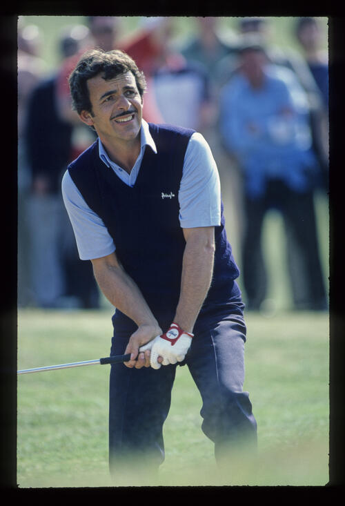 Tony Jacklin preparing to play a bunker shot during the 1982 Martini International