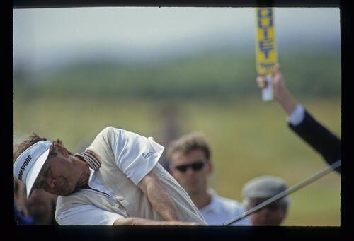 Raymond Floyd making interesting angles on the tee during the 1993 Open Championship