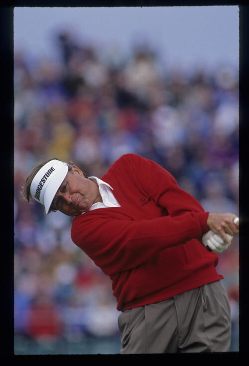 Raymond Floyd making interesting angles on the tee during the 1992 Open Championship