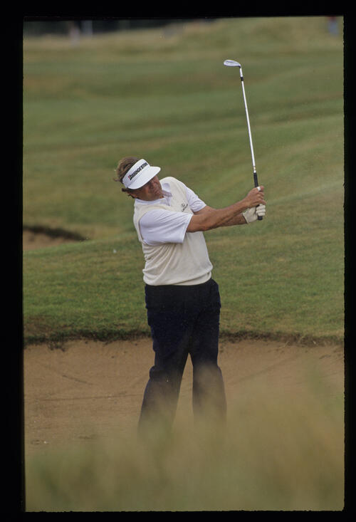 Raymond Floyd watching the result of a bunker shot during the 1992 Open Championship